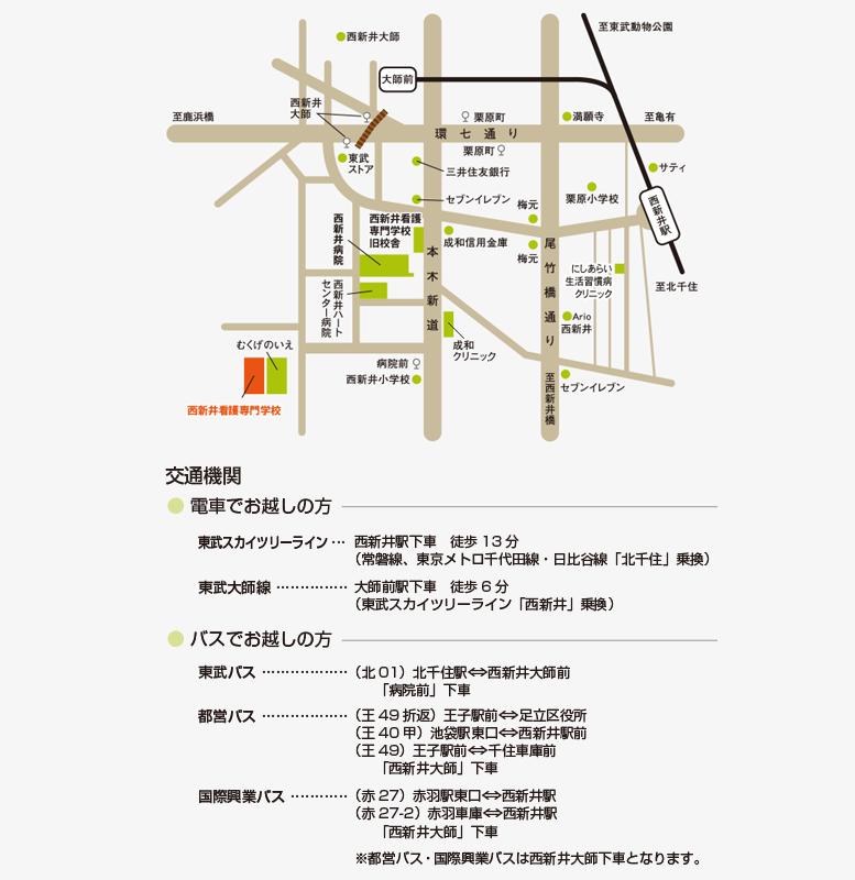東武スカイツリーライン西新井駅から西新井看護学校までの地図